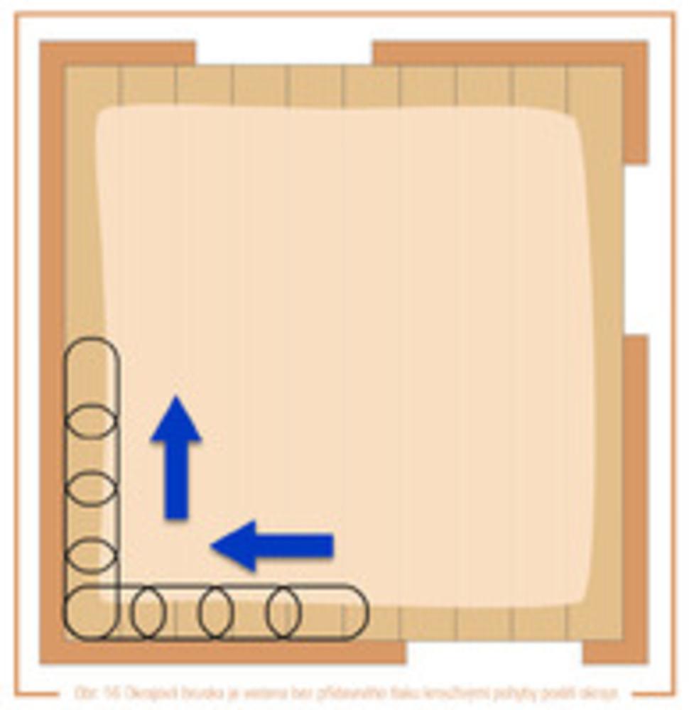 obr. 16 Okrajová bruska je vedena bez přídavného tlaku krouživými pohyby podél okraje.